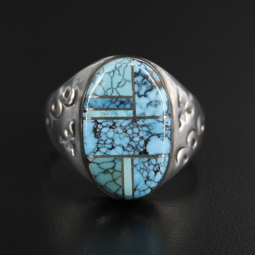 Southwestern Style Sterling Silver Turquoise Inlay Ring with Stampwork