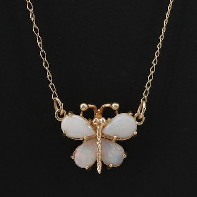 14K Yellow Gold Opal Butterfly Necklace