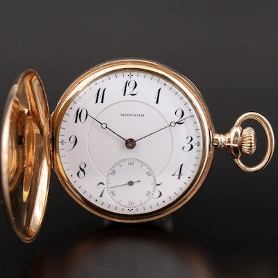 Antique Howard 14K Gold Hunting Case Pocket Watch, 1916