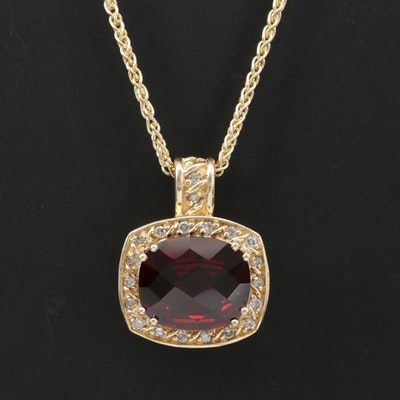 14K Yellow Gold Garnet and Diamond Pendant Necklace