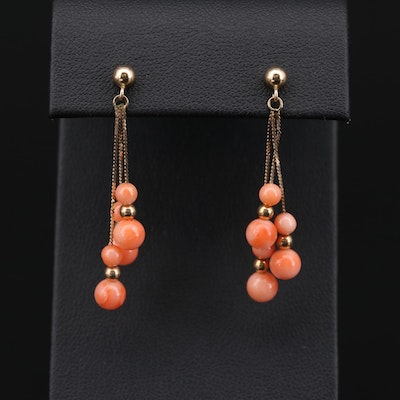14K Yellow Gold Coral Dangle Earrings
