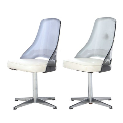 Mid Century Modern Vinyl Upholstered Acrylic Side Chairs, Mid 20th Century
