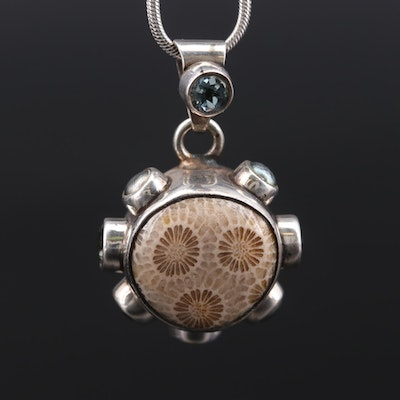 Starborn Petoskey Sterling Silver Fossilized Coral and Gemstone Pendant Necklace