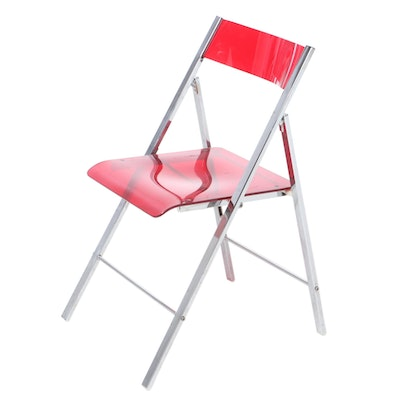 Contemporary Modern Acrylic and Chrome Folding Side Chair