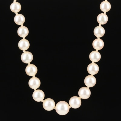 Graduated Strand of Pearls with 14K Gold Clasp