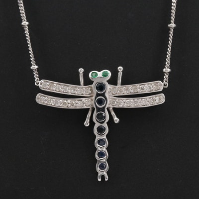 14K White Gold Blue Sapphire, Emerald and Diamond Station Necklace