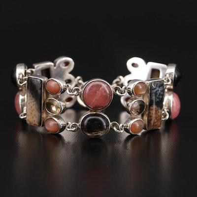 Starborn Sterling Silver Jasper, Citrine, and Rhodochrosite Bracelet