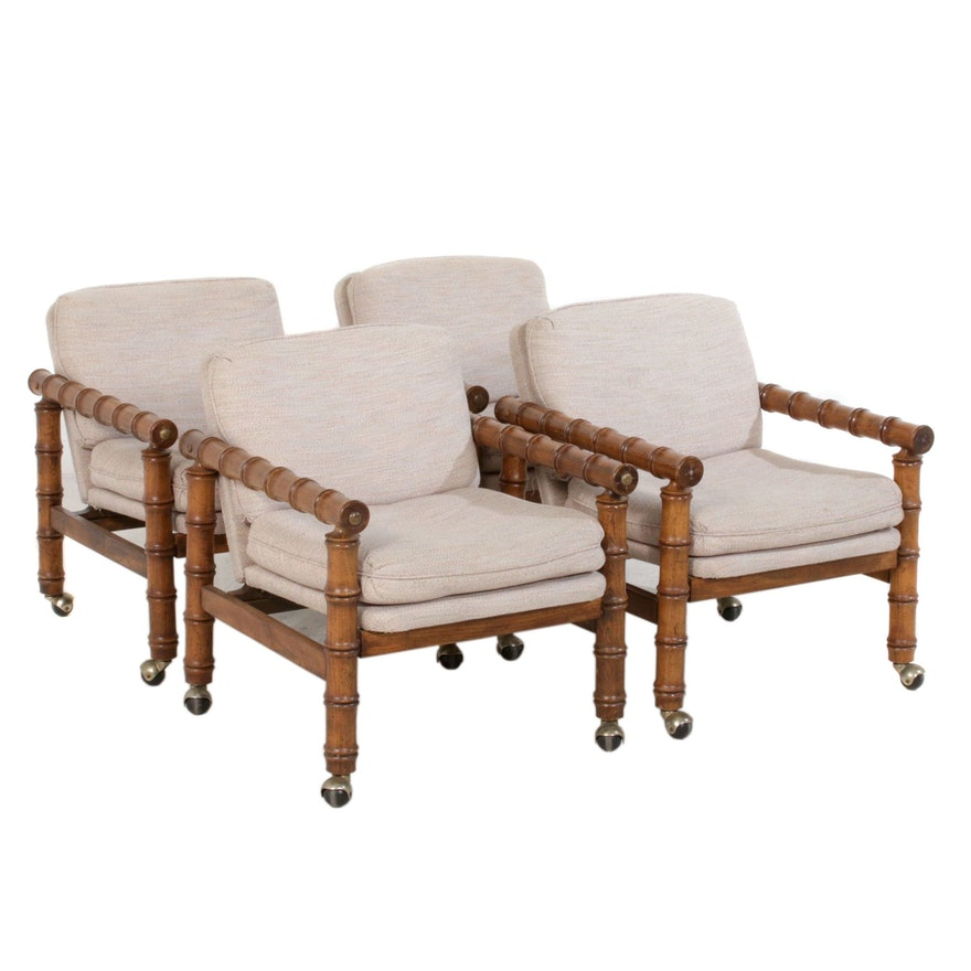 Set of Four Regency Style Bamboo Carved Oak Lounge Chairs, Late 20th Century