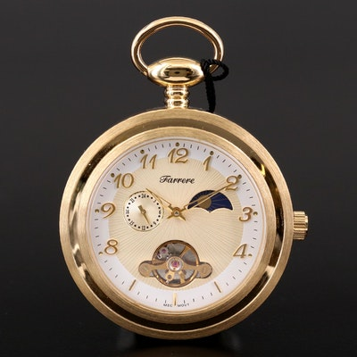 Farrere Gold Tone Pocket Watch with Day and Night Phase Dial and Fob Chain