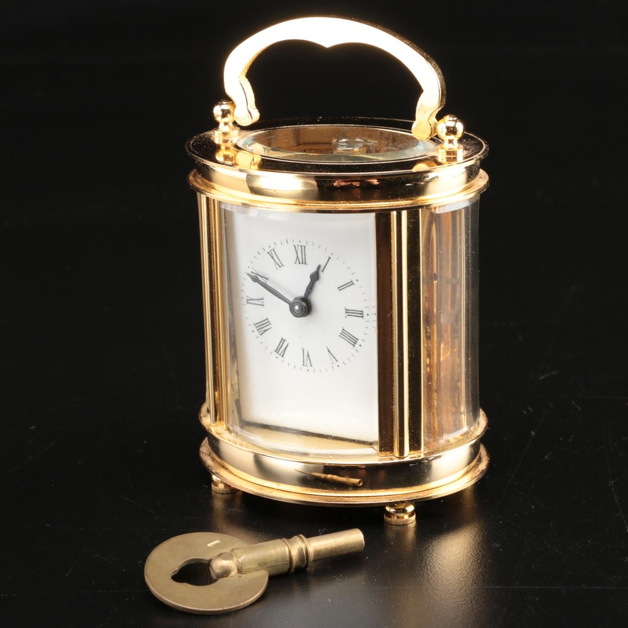 Gold Tone Cased Glass Carriage Clock