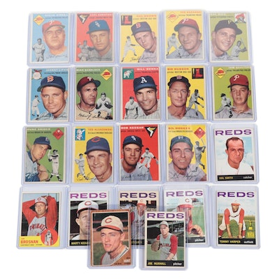 1954 Topps Baseball Cards with Duke Snider and Reds Hand-Signed Cards