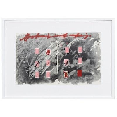 """Antoni Tàpies Double-Page Lithograph with Halftone for """"Derrière le Miroir"""""""