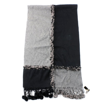 Mitchie's Black and Gray Cashmere Blend and Rabbit Fur Wrap