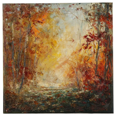 Garncarek Aleksander Oil Painting of Autumn Landscape