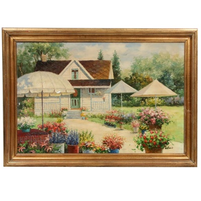 Oil Painting of Landscape with Flowers and Cottage