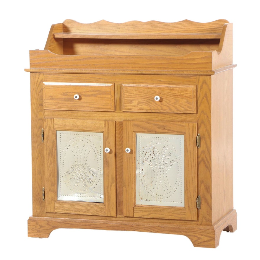 Oak Dry Sink with Tin Panels, Mid to Late 20th Century
