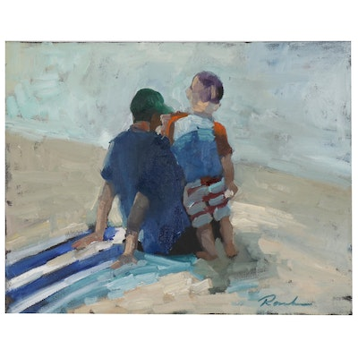 Sally Rosenbaum Oil Painting of Father and Son at Beach