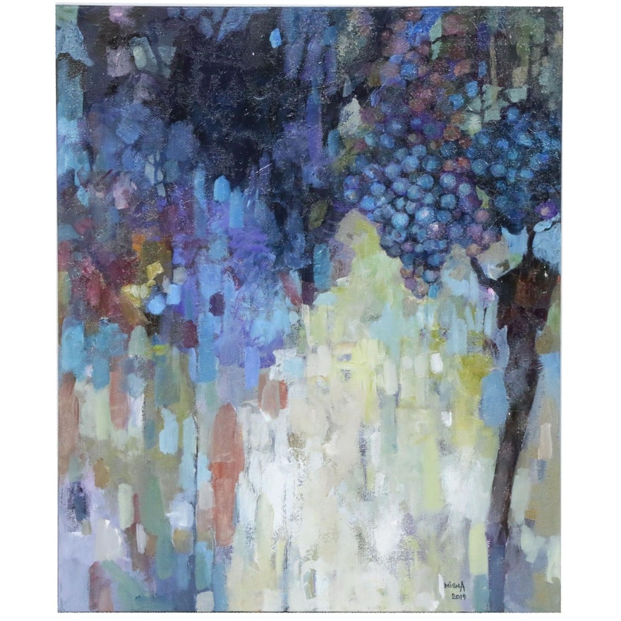 Alexandra Zecevic Abstract Acrylic Painting of Grapes, 2019