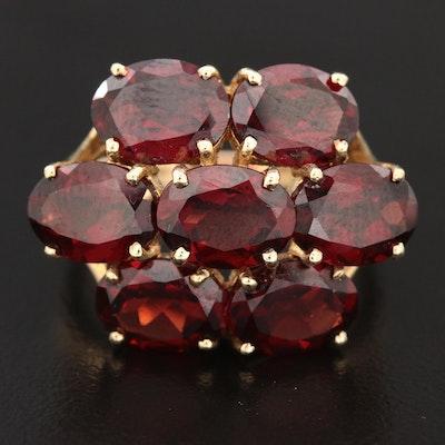 10K Yellow Gold Garnet Cluster Ring