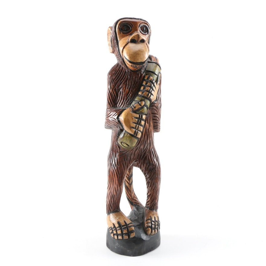 """Hand Carved """"Cool Jackson"""" Wooden Monkey Sculpture, 2013"""