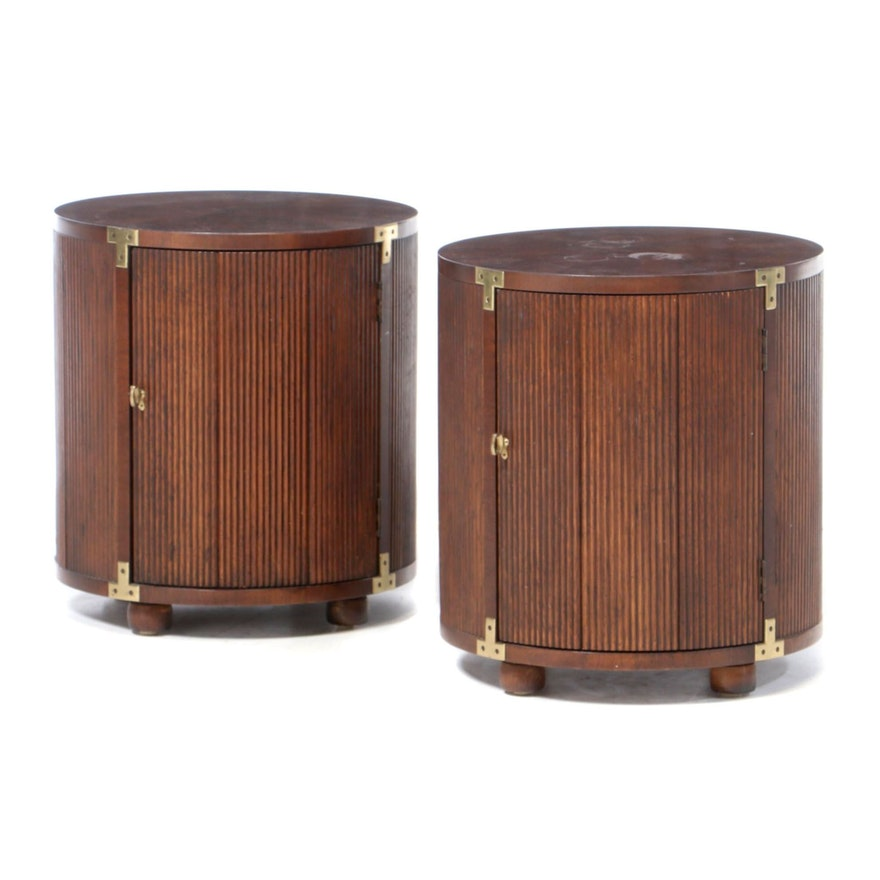 Mid Century Modern Barrel Shaped End Table Cabinets, Mid 20th Century