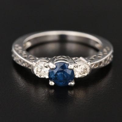 14K White Gold Sapphire and Diamond Three Stone Ring