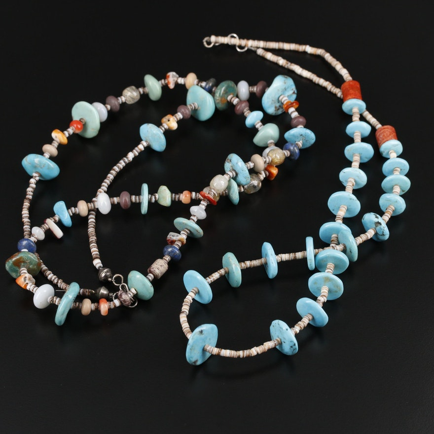 Heishi Necklaces with Sterling Closures