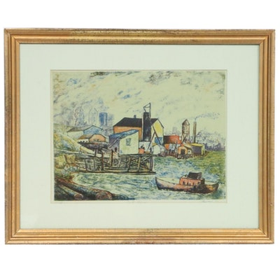 """Theodore Wahl Color Lithograph """"East River,"""" Early 20th Century"""