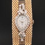 Vintage Hamilton 14K Gold and Diamonds Stem Wind Wristwatch