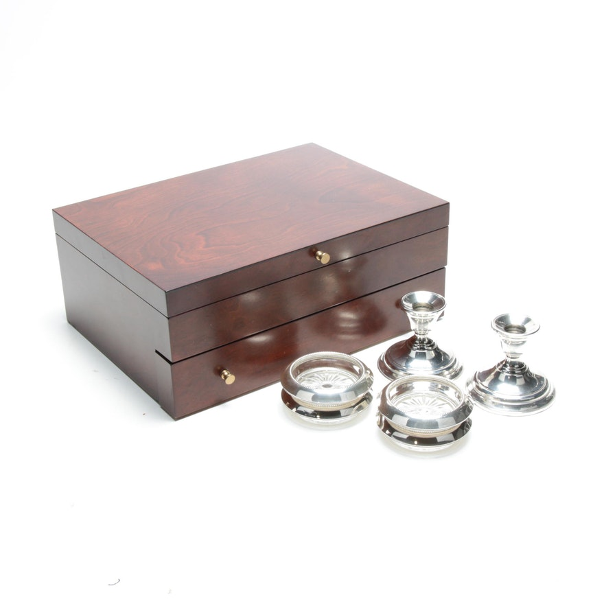 Reed & Barton Flatware Box with Sterling Silver Coasters and Candlesticks