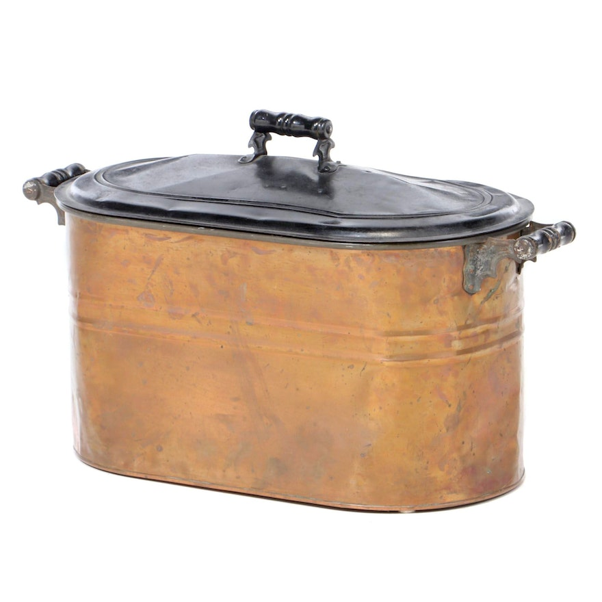 Rochester Rigid Copper Wash Tub Boiler with Lid, Early 20th Century