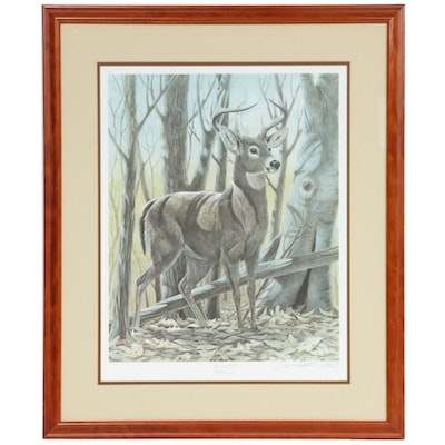 "John A. Ruthven Offset Lithograph ""White-Tailed Deer,"" Late 20th Century"