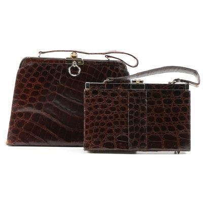 Alligator Skin Handbags Including Vassar Shopper Bag, Mid-20th Century