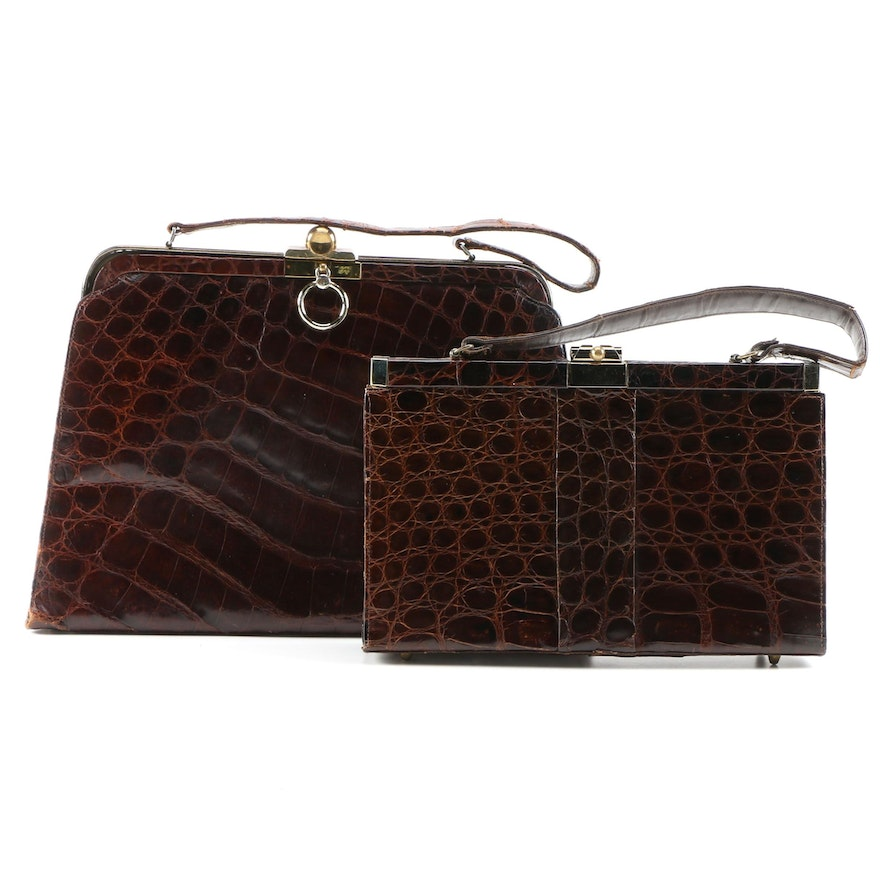 Alligator Skin Handbags Including Vassar Shopper Bag, Mid-20th Century