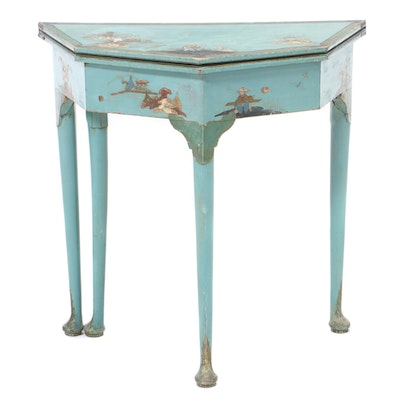 Painted Chinoiserie-Decorated Flip-Top Card Table, Early 20th Century