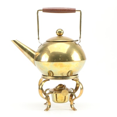 Mexican Brass Teapot and Warming Stand, Vintage