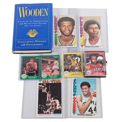 Basketball Collectibles, NBA Trading Cards and John Wooden Signed Book