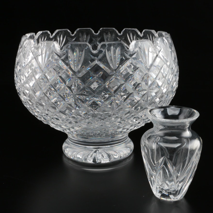 Waterford Crystal Footed Bowl with Bud Vase, Late 20th/Early 21st Century