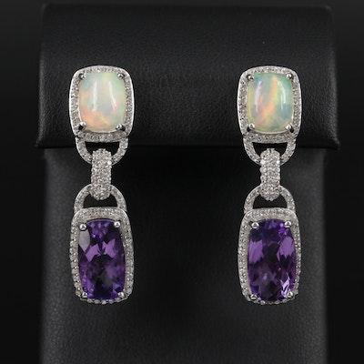 Sterling Silver Amethyst, Opal and White Zircon Earrings