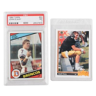 1984 John Elway Topps PSA Graded and 1991 Brett Favre Upper Deck Rookie Cards