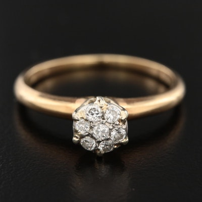 14K Yellow Gold Diamond Cluster Ring with Platinum Accent