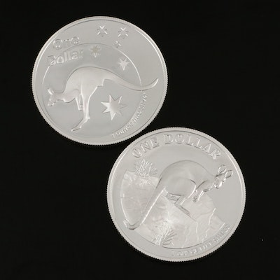 Two Australia $1 Kangaroo One Troy Ounce Silver Proof Coins