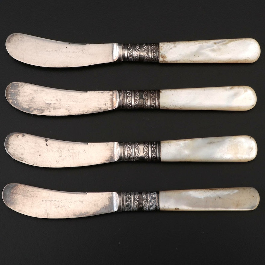 Meriden Cutlery Co. Butter Spreaders with Sterling and Mother of Pearl Handles