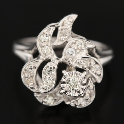 14K White Gold Diamond Openwork Ring