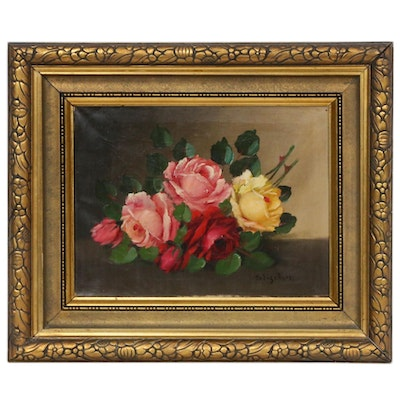 Sigrid Fischer Still Life of Roses Oil Painting, Early 20th Century