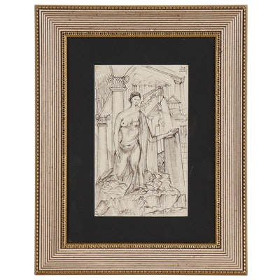 Alex Levi Ink Drawing of Draped Female Nude by Greek Temple