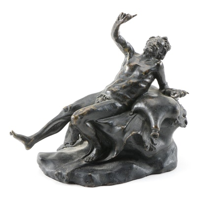 Patinated Cast Brass Sculpture of a Drunken Satyr, 20th Century