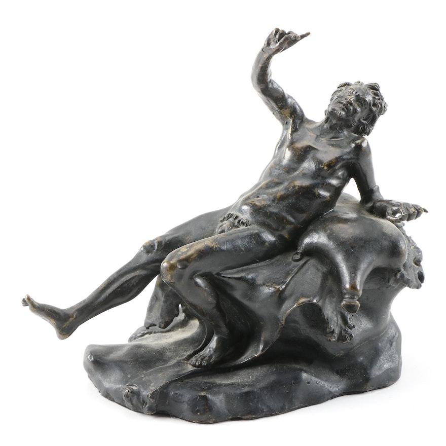 Patinated Cast Brass Sculpture of a Drunken Satyr, 20th Century