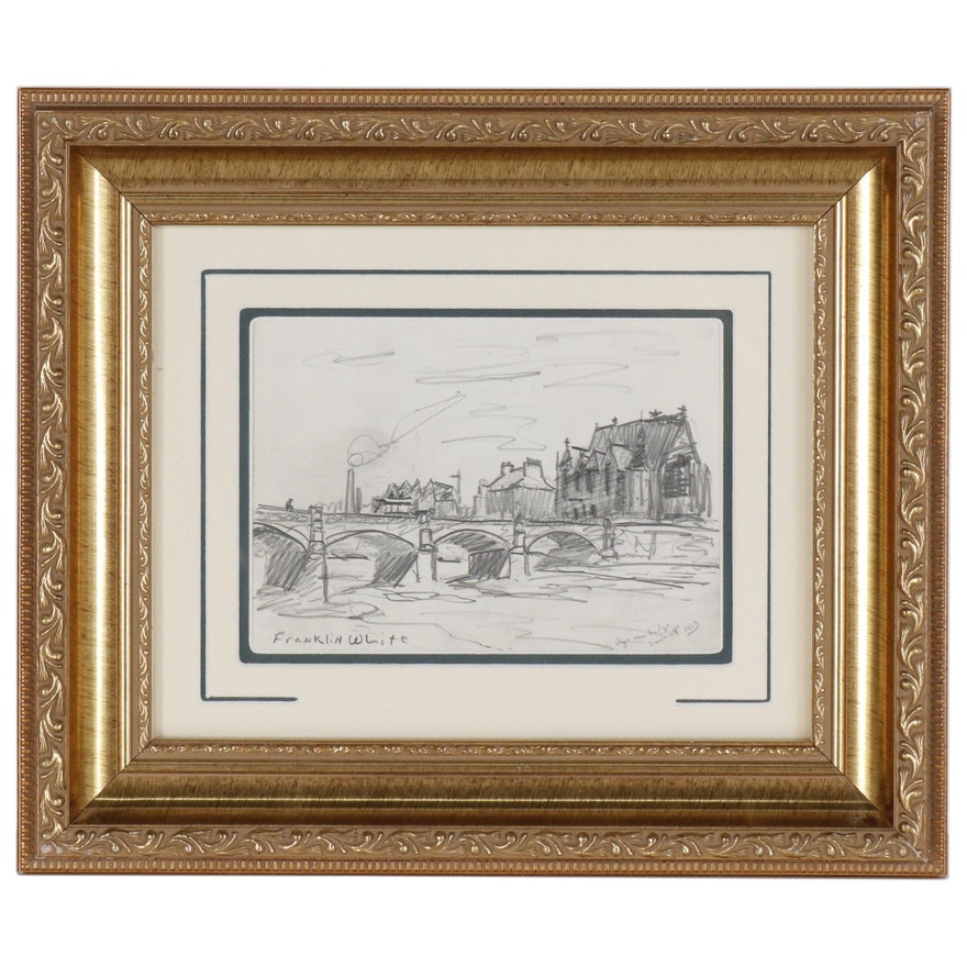 "Franklin White Graphite Drawing ""Banks of the Tweed"""