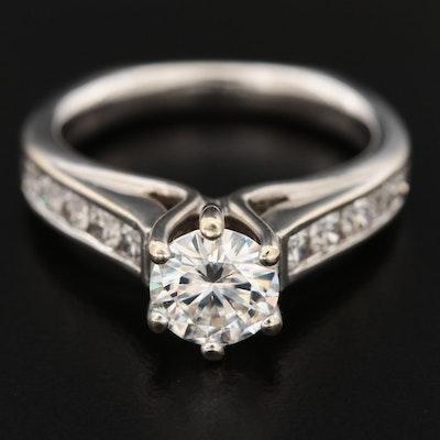 18K White Gold Moissanite and Diamond Ring